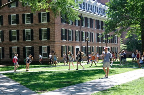 Students on campus at Yale University